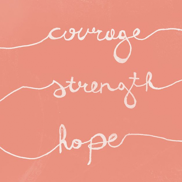 Courage. Strength. Hope. Ideas for t-shirt design for breast cancer awareness month.