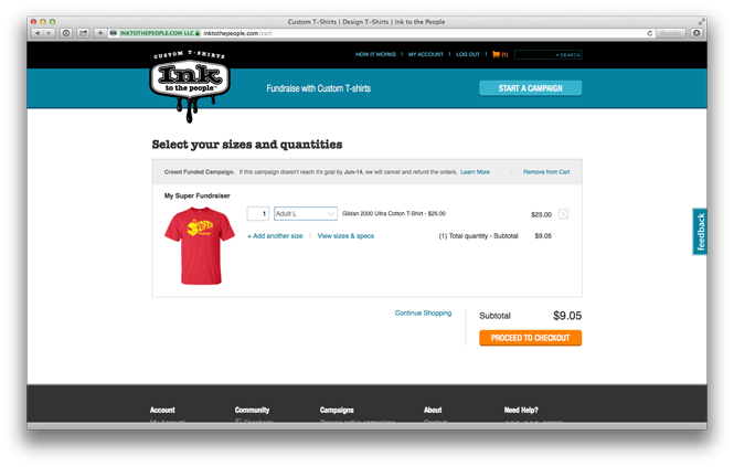 Purchasing from your t-shirt fundraiser